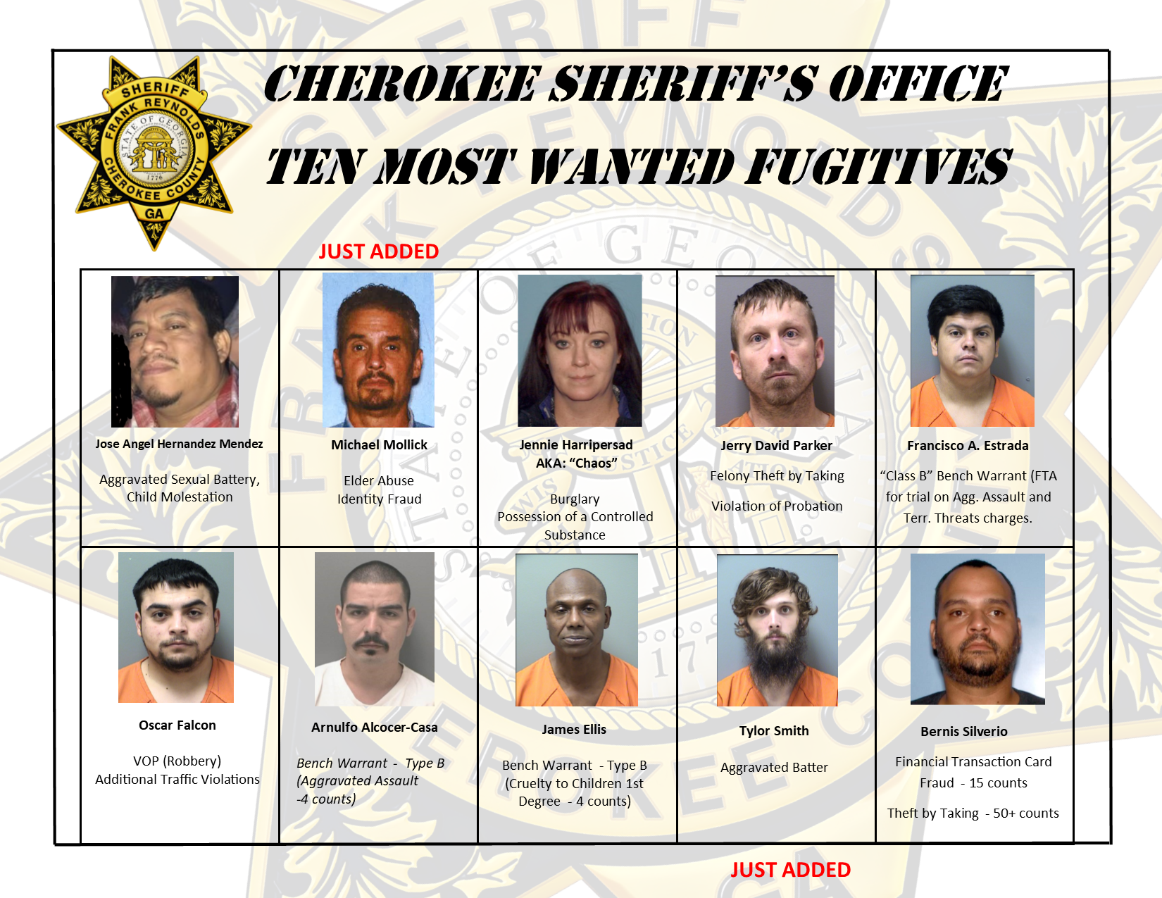 CSO Most Wanted – Cherokee Sheriffs Office
